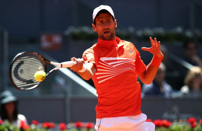 Novak Djokovic hits a forehand on a day where Roger Federer and Rafael Nadal will also feature
