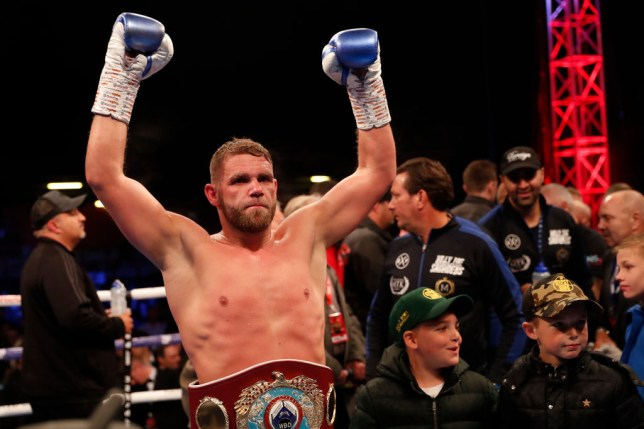 STEVENAGE, ENGLAND - MAY 18: Billy Joe Saunders celebrats the win over Shefat Isufi during the WBO WORLD SUPER-MIDDLEWEIGHT CHAMPIONSHIP at The Lamex Stadium on May 18, 2019 in Stevenage, England. (Photo by Luke Walker/Getty Images)