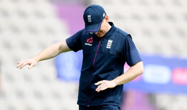 England captain Eoin Morgan injures his finger during a training session ahead of the Cricket World Cup