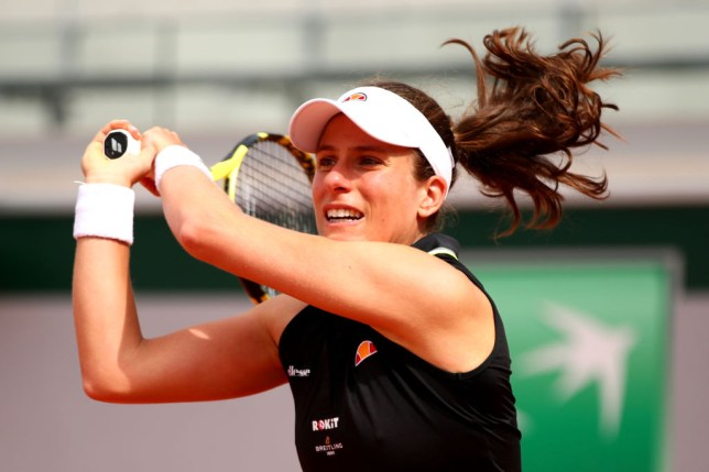 Johanna Konta hitting a backhand in her first French Open win