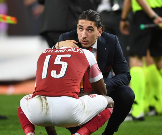 Ainsley Maitland-Niles was consoled after the final whistle following Arsenal's Europa League final defeat against Chelsea