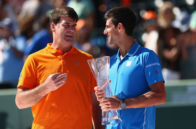 Tim Mayotte with world No. 1 Novak Djokovic