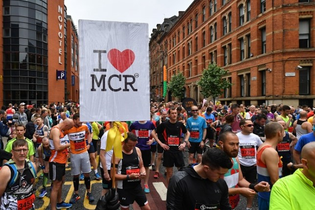 Runners gather at the start of the Great Manchester Run in 2017
