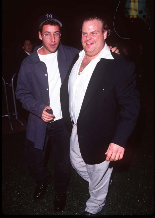 Adam Sandler & Chris Farley at the Cineplex Odeon Century Plaza Cinema in Century City, California (Photo by Steve Granitz/WireImage)