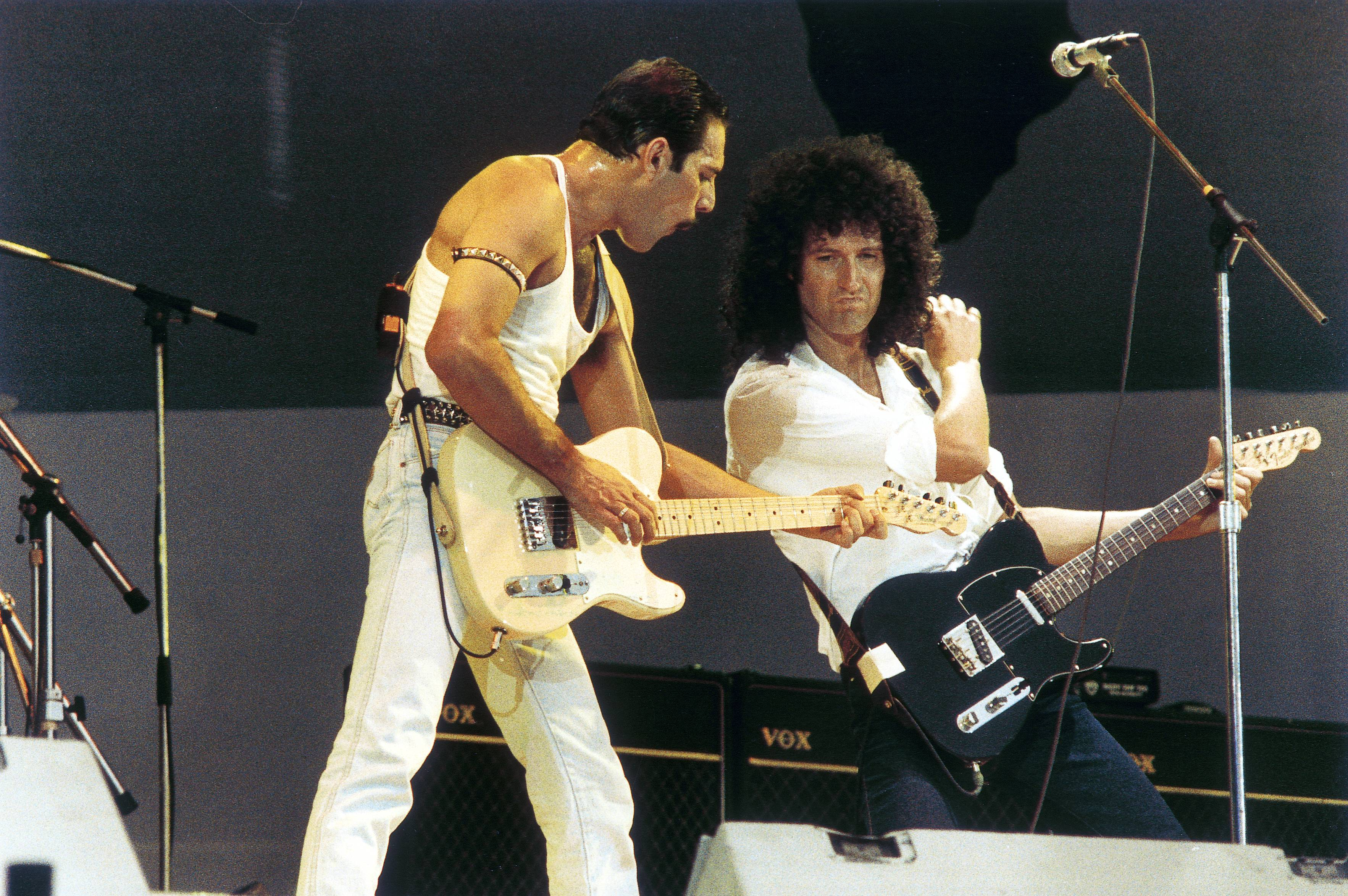 Brian May and Freddie Mercury of Queen Live Aid 1985