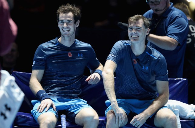 Andy Murray and Jamie Murray sat together smiling