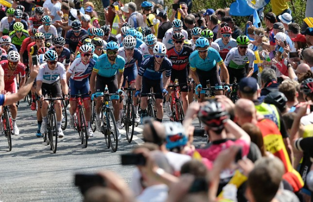 Riders in the peloton climb up the iconic Sutton Bank during the third stage of the Tour de Yorkshire cycling race