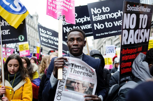 Islamophobia protester calls out Theresa May