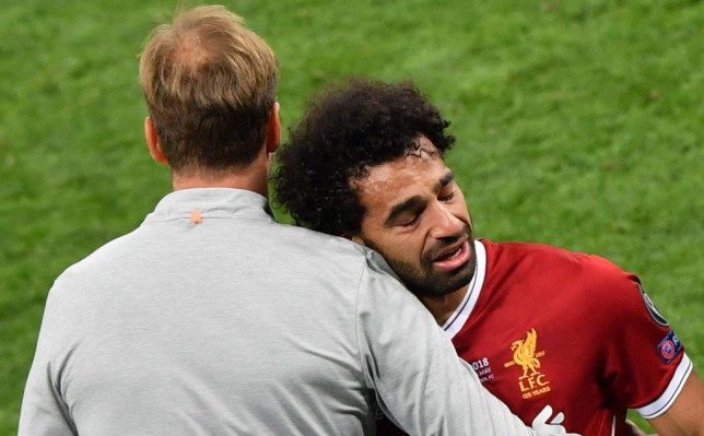 Mohamed Salah suffered a shoulder injury following a challenge with Sergio Ramos during last season's Champions League final against Real Madrid
