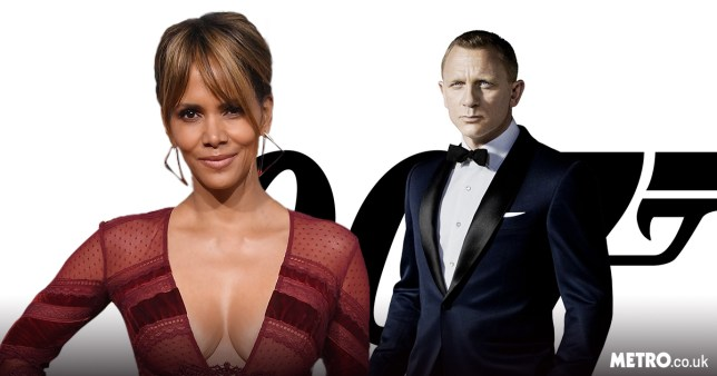 Halle Berry wearing a red dress and Daniel Craig as 007 star James Bond
