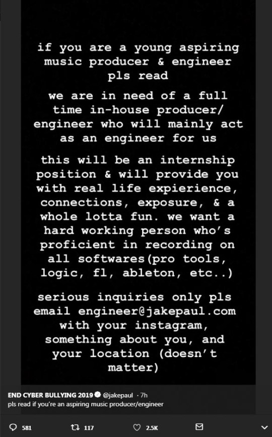 YouTuber Jake Paul advertises for intern that will be paid