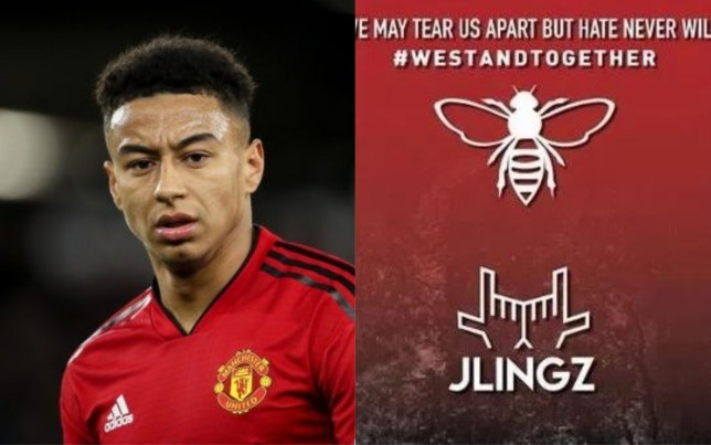 Jesse Lingard's 'JLingz' branding was used on a tribute post for the Manchester Arena victims