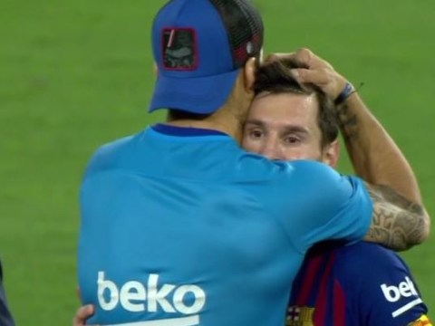 Lionel Messi consoled by Luis Suarez after Barcelona's Copa del Rey final defeat to Valencia