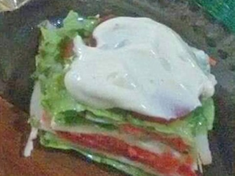 No one is impressed by this 'vegan lasagne' which looks more like a stacked salad