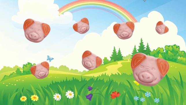 Percy Pigs flying around on a colorful image