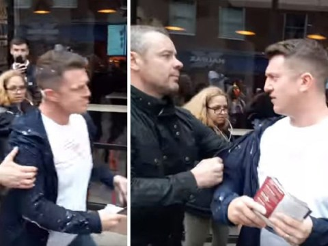 Tommy Robinson has milkshake thrown at him while out campaigning