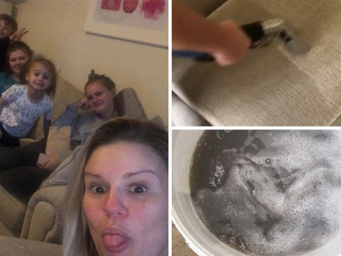 Kerry Katona shared a video deep cleaning her sofa and it's grim