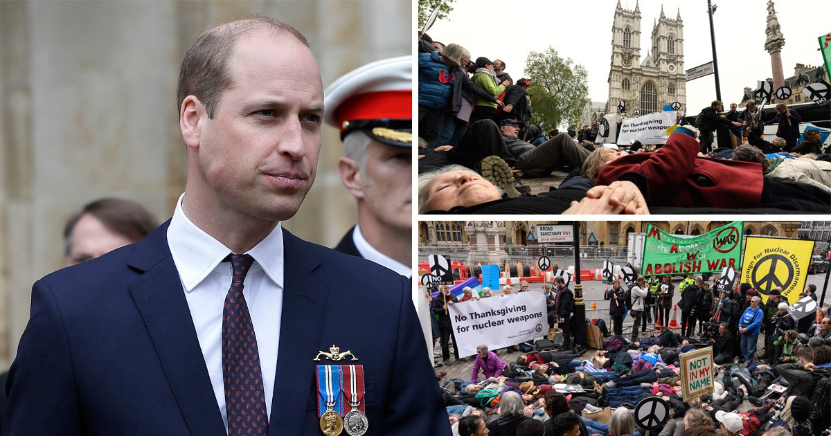 Prince William booed by protesters as he attends nuclear deterrent ceremony