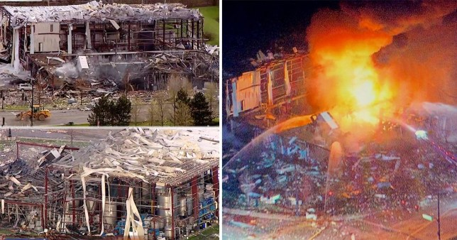 Three are missing after an explosion ripped through a silicone manufacturing factory  (Pictures: WLS/ WGN-TV)
