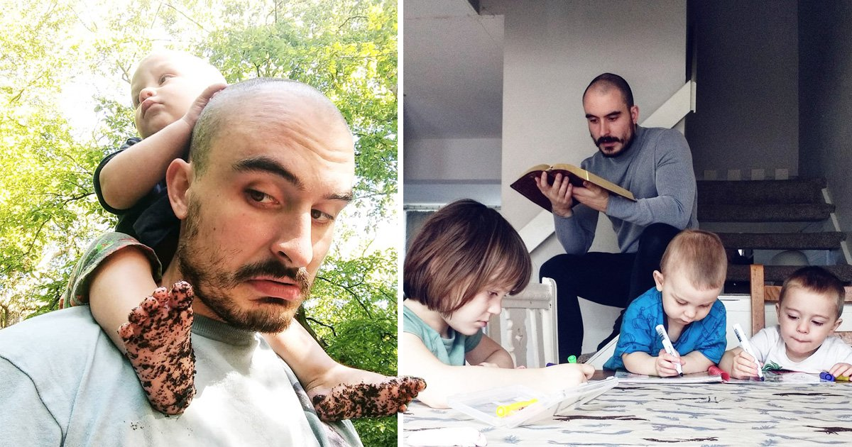 Single dad, 25, insists homeschooling three children 'is a joy' – but his day starts at 4.30am