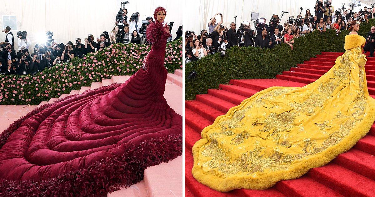 Met Gala 2019: Cardi B recreates Rihanna's iconic pizza dress with entourage to match