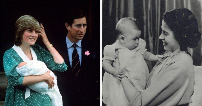 the queen with her baby and lady diana with a baby prince william