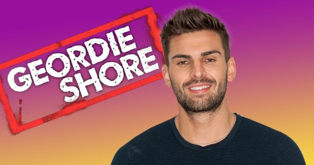 Love Island's Adam Collard in front of a Geordie Shore logo as it's rumoured he's joining the MTV show