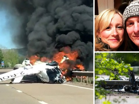 Pictured: Hero who dragged passengers from plane after it crashed on dual carriageway