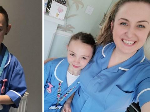Girl dresses as nurse for school superhero day to celebrate 'everyday heroes'