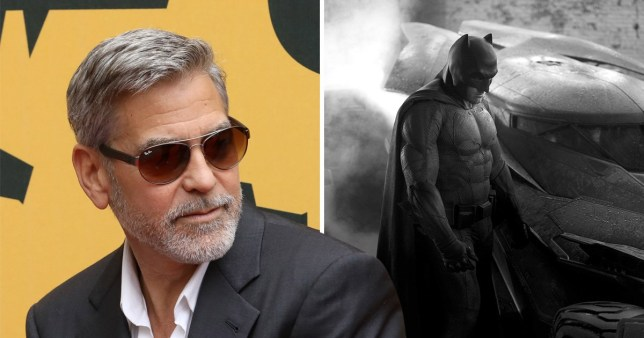 George Clooney pictured with Ben Affleck in his Batman costume