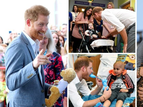 Prince Harry handed teddy for Archie as he tours hospital in Oxford