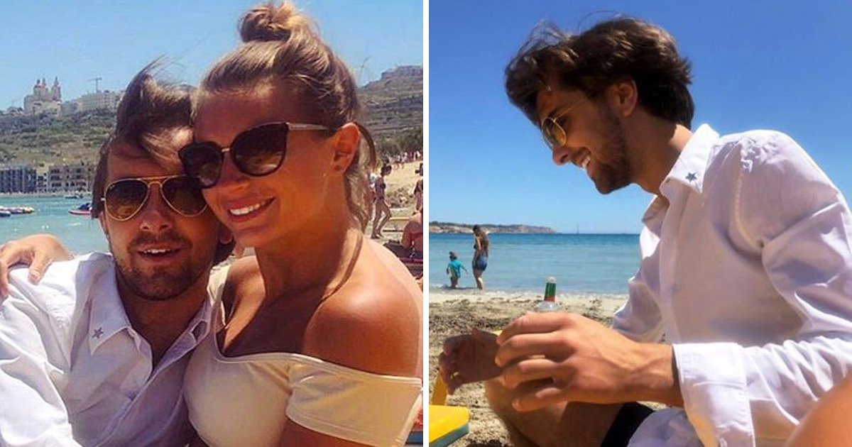 Dani Dyer and Sammy Kimmence on the beach hugging in Instagram photos