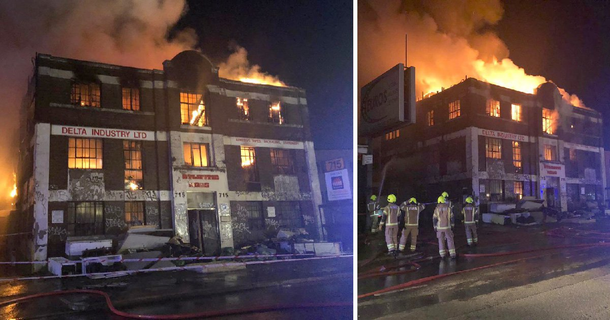The blaze at a commercial building on the North Circular in Neasden