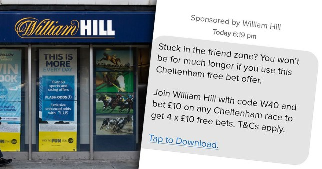 The advert was banned after William Hill was accused of linking gambling to sexual success