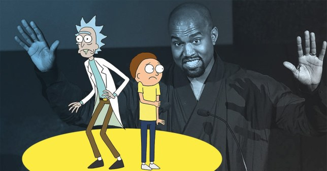 Rick and Morty look scared of Kanye West