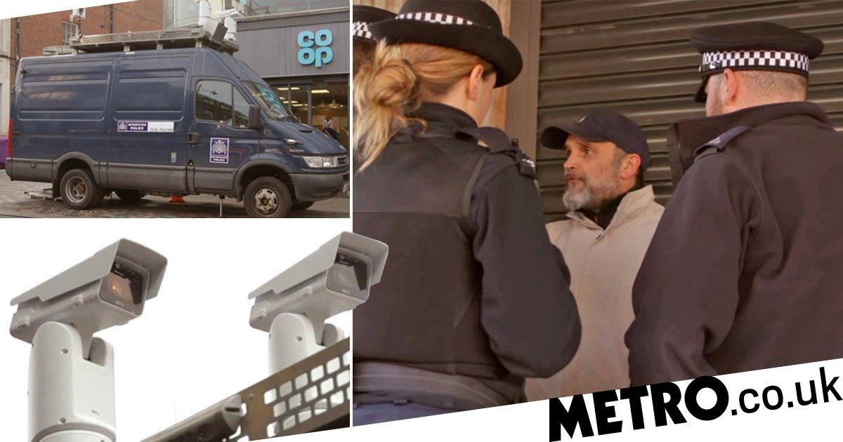 Moment man is fined £90 for hiding face from police facial recognition cameras