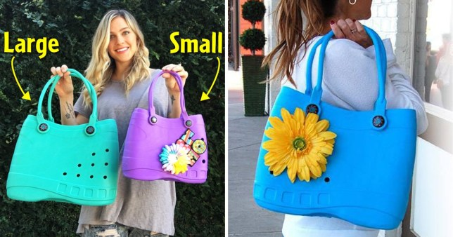 A brand called Optari has created a Crocs-inspired handbag. The split image shows a blonde woman holding up two of the bags, one in turquoise and the other in purple, while in the other photo someone holds a blue bag with a plastic sunflower attached