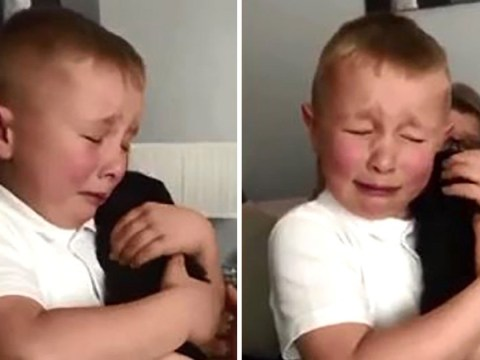 Boy, 7, bursts into tears after being given puppy by grandparents