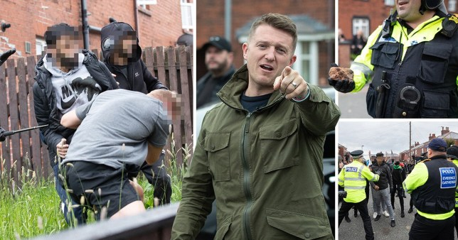 Bricks and eggs were thrown at a Tommy Robinson rally in Oldham on 18/05/19 after members of the Muslim Defence League clashed with campaigners.