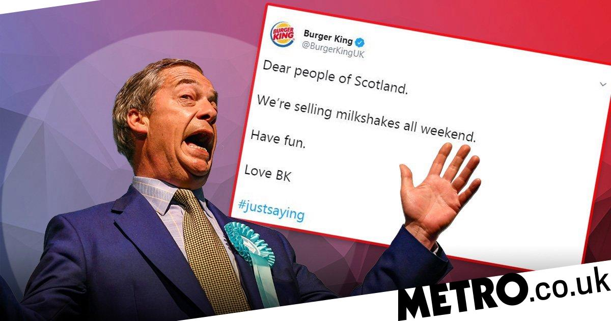 Burger King accused of 'inciting violence' against Farage by selling milkshakes