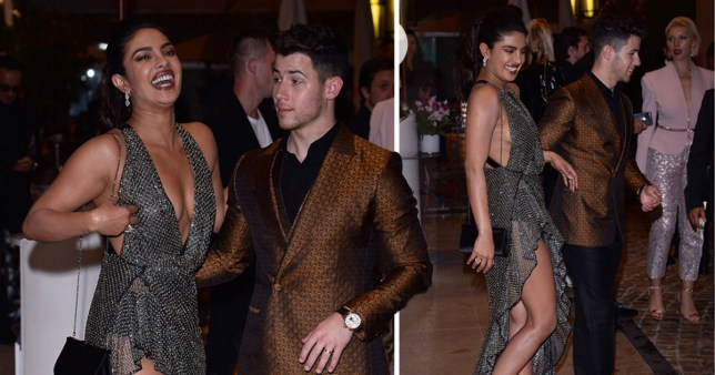 Priyanka Chopra and Nick Jonas laughing at Vanity fair Cannes party