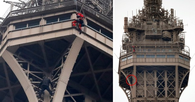Photos posted on social media suggested the man had got around two thirds of the way up the tower (AP Photo/Michel Euler)