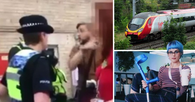 Screenshot of autism blogger Sara Harvey who she says was refused entry to a Virgin train because of her autism - next to a picture of a virgin train and another picture of Sara.