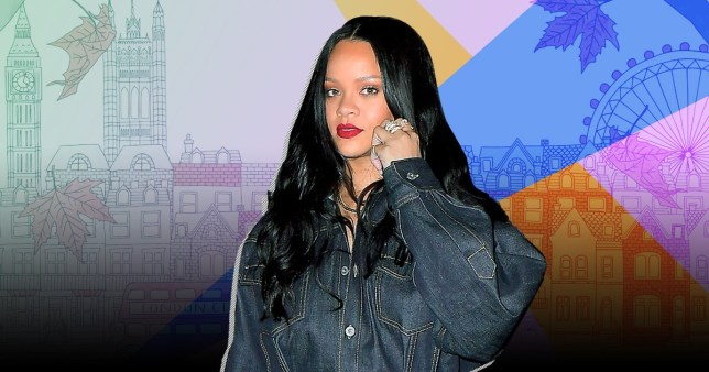 Rihanna pictured with London landmarks including Big Ben and the London Eye
