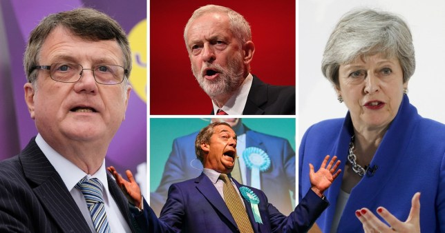 Jeremy Corbyn, Theresa May and Nigel Farage ahead of the European Elections