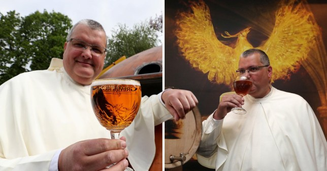 Father Karel Stautemas poses with a Grimbergen beer, and on the left, taking his first drink