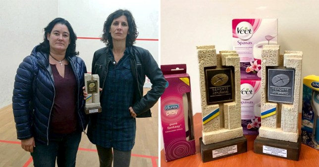 The winners of Asturias championship in Oviedo were given sex toys and hair wax from Durex, Veet and Scholl alongside their trophies.