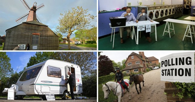 A windmill in West Blatchington near Brighton, a launderette in Headington outside Oxford, a caravan in Garthorpe, Leicestershire and a house in Three Oaks house in Bramshill, near Reading which have all been used as polling stations for UK and EU elections.