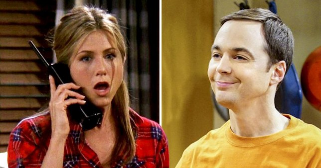 Jennifer Aniston in Friends and Jim Parsons in The Big Bang Theory