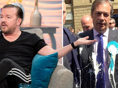 Ricky Gervais thinks anyone throwing milkshakes at pro-Brexit politicians 'deserves a smack'